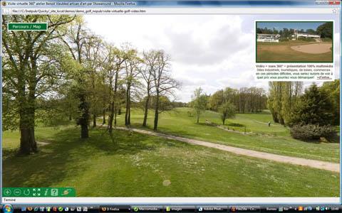 visite virtuelle multimédia d'un golf