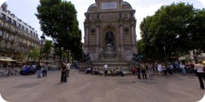 Visite virtuelle 360° hd Paris fontaine St Michel par Showaround