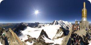 Visite virtuelle 360° flash haute définition de l'Aiguille du Midi à 3842 mètres côté sud à Chamonix par Showaround