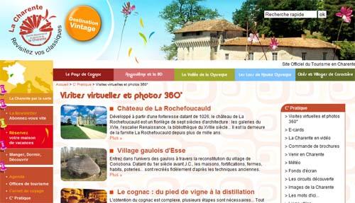 Visites virtuelles 360° HD Showaround sur le site du Comité Départemental du Tourisme de Charente